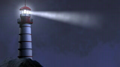 Night Lighthouse Beam Looping Stock Footage