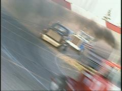 Motorsports, Big Rig truck race dutch tilt, in the corner Stock Footage