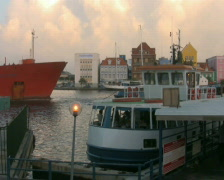 Oiltanker in downtown Willemstad Curacao 1 PAL Stock Footage