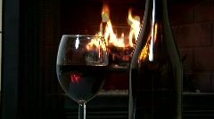 Dolly wine fireplace Stock Footage