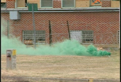 Military, green smoke firefight Stock Footage