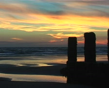 Dramatic sunset on a beach Stock Footage