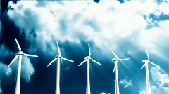 Wind Turbines with tine lapse clouds,Alpha Channel included - stock footage