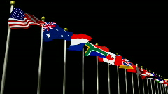 World Flags on a Black Background HD1080 Stock Footage