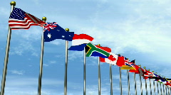 World flags with sky in background HD1080 Stock Footage