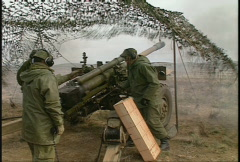 military, Artillery fire from concealed position, #7 close, nice - stock footage