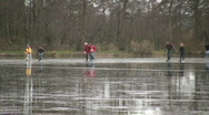 People skating on natural ice Stock Footage