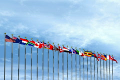 World flags 2 with sky background NTSC Stock Footage