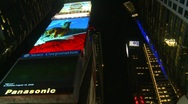 Stock Video Footage of New York City, Times Square, night, #7 extreme high angle locked off wide