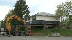 House moved off it's foundation, #3 Stock Footage