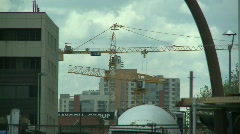 Construction cranes and cement truck Stock Footage