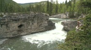 Stock Video Footage of river and waterfall, Elbow falls, #16 wide, overcast sky