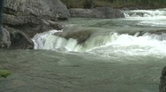 Stock Video Footage of river and waterfall, Elbow falls, #9 medium on edge of falls