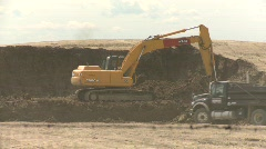 construction, backhoe and dumptruck, #1 - stock footage