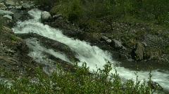 River and waterfall, mountain stream, much green small creek Stock Footage