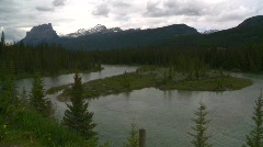 Castle mountain and river Stock Footage