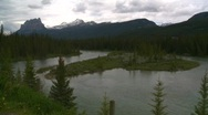 Stock Video Footage of Castle mountain and river