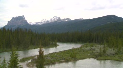 Mountain and river, Banff Stock Footage