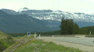 Trucking, highway traffic, mountain, trucks and cars Stock Footage
