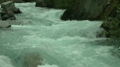 River and waterfall, mountain creek, many short drops Stock Footage