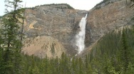 Stock Video Footage of river and waterfall, Takakkaw  falls