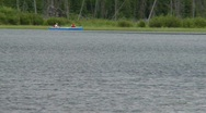 Stock Video Footage of canoe on mountain lake
