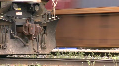 Railroad, intermodal container train through frame tight on tracks Stock Footage