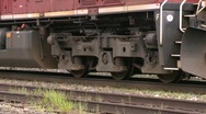 Railroad, Diesel locomotive, AC4400, tight on trucks Stock Footage