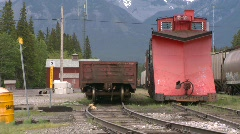 Railroad, railway snowplow and railcars Stock Footage