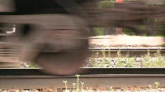 Railroad, freight train leaving slow, #1 Stock Footage