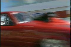 Motorsports, drag racing, Pro mod pickup burnout, very close Stock Footage