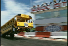 Motorsports, drag racing, wheelstander school bus, wild!! Stock Footage