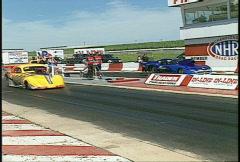 Motorsports, drag racing, Pro mod race, fast follow shot Stock Footage