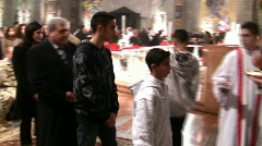 Christmas Mass at the Basilica of Annunciation in Nazareth, Israel Stock Footage