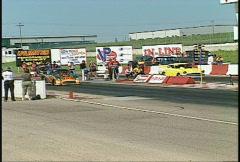 Motorsports, drag racing, Pro mod race, Corvette vs Ford Stock Footage
