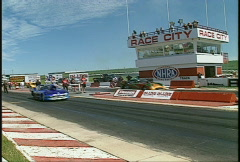 Motorsports, drag racing, Pro mod race, break in right lane vs Corvette Stock Footage