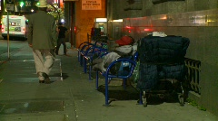 Homeless and shopping cart Stock Footage