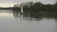 Sailing on a frozen lake 3 Stock Footage