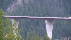 big bridge in the mountains, 300' high Park Bridge, Golden BC - stock footage