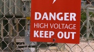 Stock Video Footage of sign, high voltage sign, electrical substation