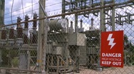 Stock Video Footage of electric substation, #1 and high voltage sign close up