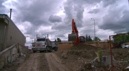 Construction, backhoe and dump truck, #5 Stock Footage
