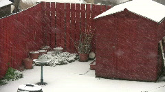 Garden shed in snow blizzard Stock Footage