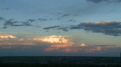 Weather, thunderstorm on the horizon, sunset, time lapse Stock Footage