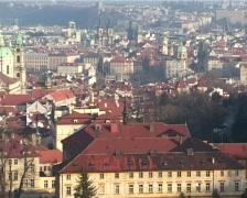 Prague panorama in winter Stock Footage