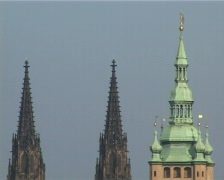 Towers of gothic cathedral Stock Footage