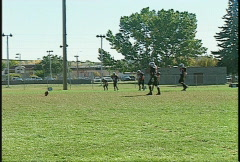 Sports and fitness, kids football, #3 kick off and return Stock Footage