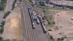 Railway yards, aerial Stock Footage