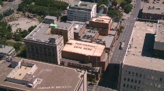 Aerial downtown Calgary, unique sign Stock Footage