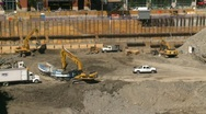 Stock Video Footage of construction site, backhoe dumptruck Eighth Avenue Place, #5  time lapse